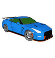blue race car with green windows and orange vector image vector image