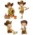 Boy doing different activities vector image vector image