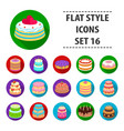 cakes set icons in flat style big collection of vector image