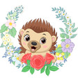 cartoon bahedgehog with flowers background vector image vector image