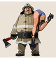 cartoon firefighter carries on his shoulder vector image