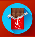 chocolate bar in opened red wrapped chocolate vector image