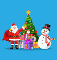 christmas tree balls gift boxes santa and snowman vector image