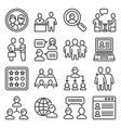 clients and business people icons set line style vector image vector image