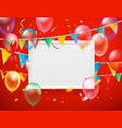color ballons and flags and confetti with blank vector image vector image