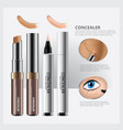 concealer cosmetic package with face makeup vector image vector image