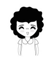 contour pretty girl with hairstyle and casual wear vector image vector image