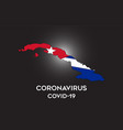 coronavirus in cuba and country flag inside vector image vector image
