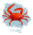 crab on ice cubes in cartoon style seafood vector image vector image