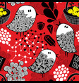 creative red background with doodle birds vector image vector image