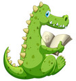 crocodile reading book on white background vector image