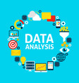 data analysis flat circle vector image vector image