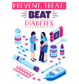 diabetes prevention treatment poster vector image vector image