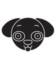 doggy emoji black concept icon doggy emoji vector image