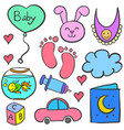 doodle of baby theme with toys vector image vector image