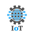 earth in the form of a gear iot gear planet ai vector image vector image