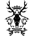 Emblem heraldic symbol with deer skull and crown vector image vector image