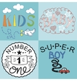 Four kids logo handwriting Baby Kids Super boy vector image vector image