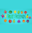 fruit friends concept banner cartoon style vector image vector image