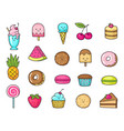 Funny icons of sweets fruit and ice cream donuts