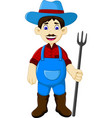Funny male farmer cartoon holding rake