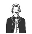 gentleman with headphones engraving vector image