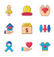 give away icons set cartoon style vector image vector image
