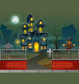 halloween house in the night background vector image