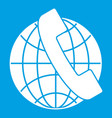 handset and globe icon white vector image vector image
