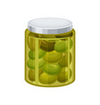 jar of green olives vector image