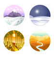 landscape poster of round icons with nature vector image vector image