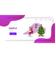 man woman in santa claus hat getting gift present vector image vector image