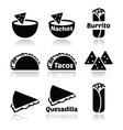 Mexican food icons - tacos nachos burrito quesa vector image vector image