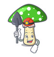 miner green amanita mushroom mascot cartoon vector image vector image