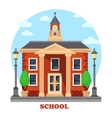 Primary or elementary secondary school with clock vector image vector image
