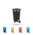 recycle bin with icon isolated trash can icon vector image