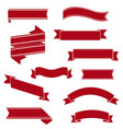 retro red ribbon set isolated white background vector image vector image