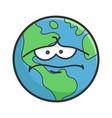 sad planet earth cartoon vector image