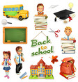 School and education 3d icon set Funny cartoon vector image vector image
