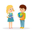 schoolgirl with book and schoolboy with globe vector image vector image