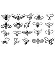 set bees collection stylized honey bees for vector image