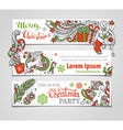 set of red green and white Christmas banners vector image