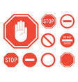 stop signs collection in red and white vector image vector image