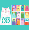 stylish calendar with cute cats vector image vector image