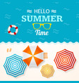 summer time banner with a beach umbrella vector image