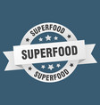 superfood ribbon superfood round white sign vector image vector image