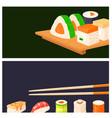 sushi rolls food banner japanese gourmet vector image