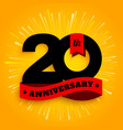 twenty years anniversary logo with red ribbon vector image