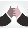 Two hands together on white vector image
