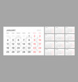 wall quarterly calendar template for 2021 year vector image